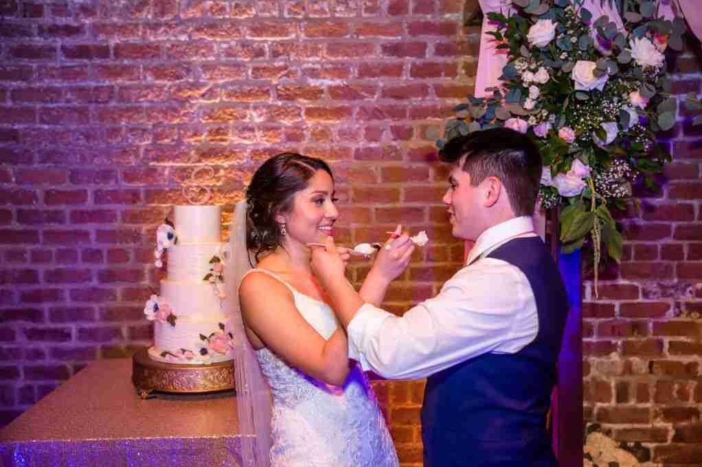 Bride and Groom, Nancy and Jonathon, Cake Cutting, Charles Morris Center, Savannah, GA