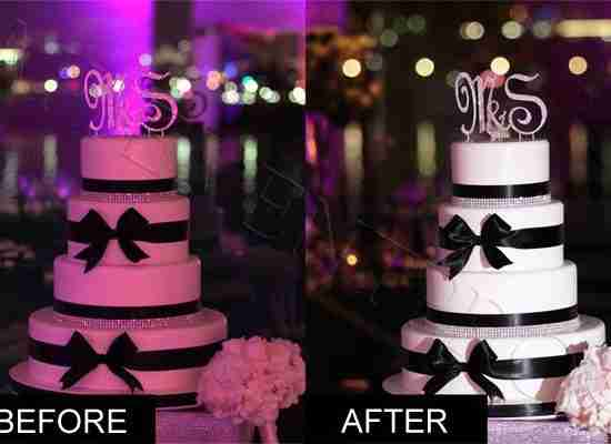 Cake-pinspot-Geogia wedding-lighting-before-and-after