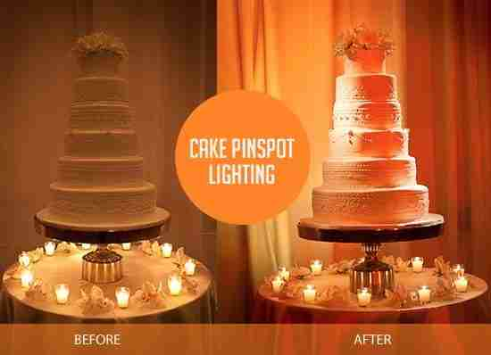 Cake-pinspot-wedding reception-Savannah GA-lighting-before-and-after
