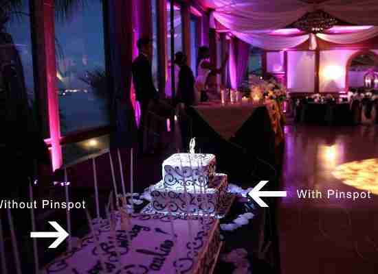 Pinspot lighting for Savannah GA wedding cake_with and without