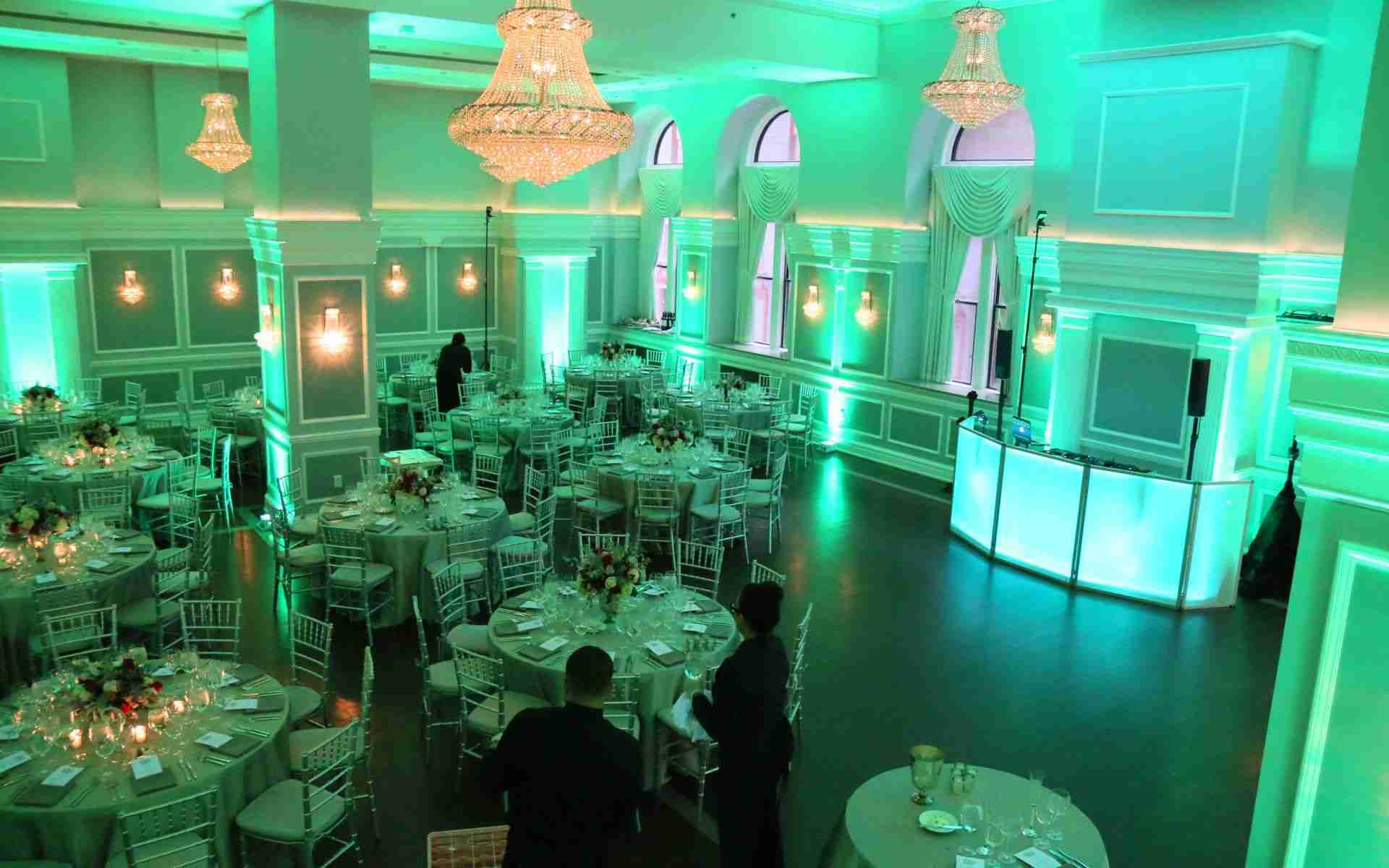 Savannah GA DJ Setup With Uplighting Around Venue_Example_Teal Green