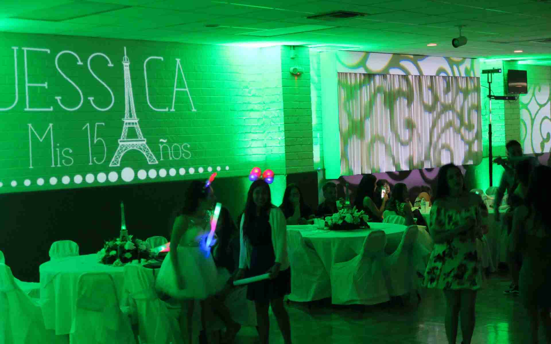 Savannah GA Party DJ_Birthday_Quinceanera_Sweet 16_Uplight Example_Light Green
