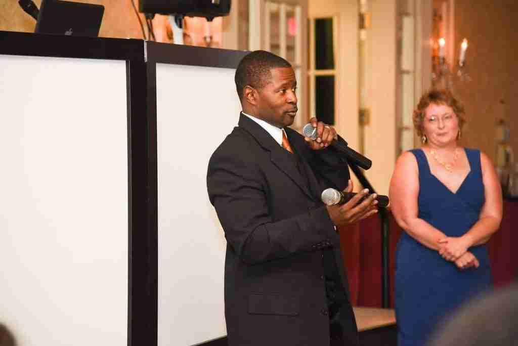 DJ Creativity Speaks during Toast at Ebony and LaMichael's Wedding Reception