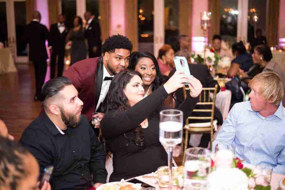 Orlando and Audrianna takes a selfie with their guest during the reception at the Magnolia Room, Rock Hill, SC