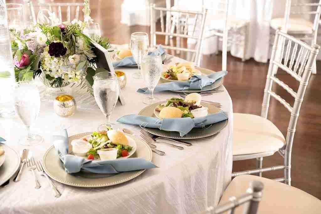 Slate Blue Wedding decor, Flowers and food