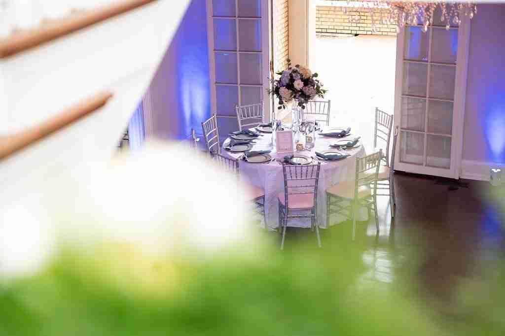 Wedding Decor, Slate Blue Uplighting, Sweets & Favors