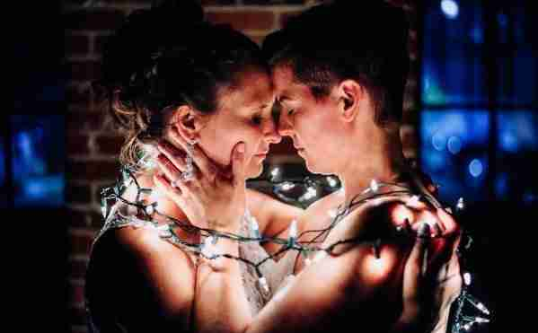 LGBTQ wedding_Brides about to kiss_Same Sex Marriage_Savannah