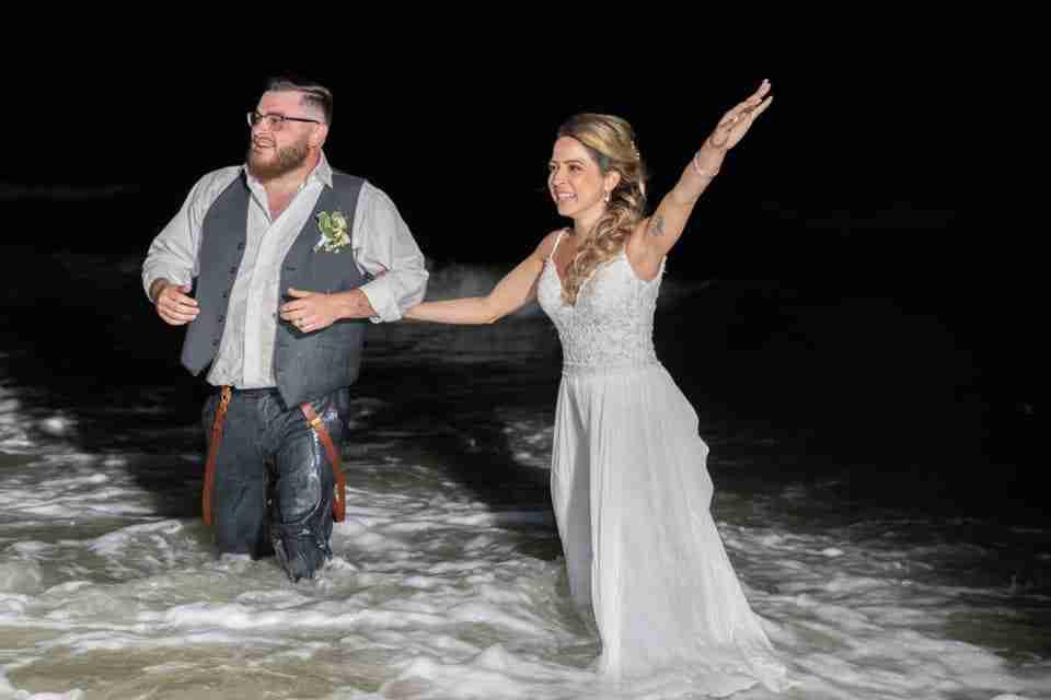 A Beautiful Beach Wedding on Hilton Head Island, SC_Bride and Groom In The Ocean